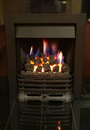 Gas Fire Black Ornate with Coals