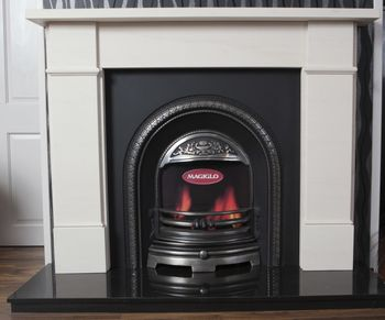 Flat Victorian hand carved limestone fireplace