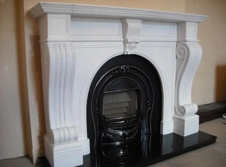 Hand carved marble fireplace - Majestic