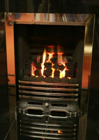 Gas Fire Silver and Black with Coals