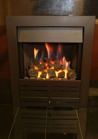Gas Fire Black with Coals