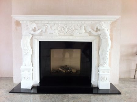 Marble fireplace with Dik Geurts GAS Stove