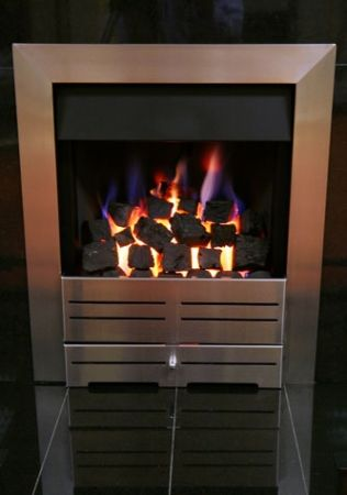 Gas Fire Silver with Coals