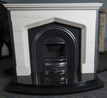 Tudor Arch Hand Carved Limestone Fireplace
